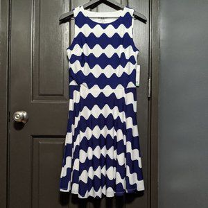 M by Maia Blue and White Striped Bow Back Dress